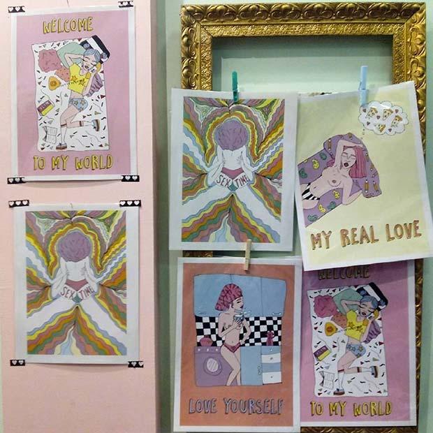 """Serie """"Girl Power"""" de Blasina Rocher - ilustración a la venta en Blue Velvet Vintage Clothing (calle La Cadena 8, junto a plaza San Miguel y Coso) y Shuave Shop (calle San Jorge 19)."""