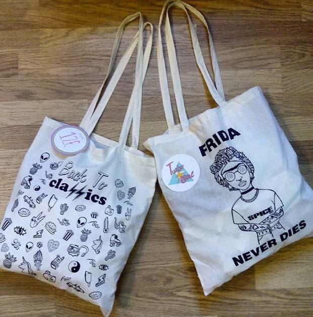Tote bags diseñadas por @blasinarocher + @fulanitoymenganita_wd + @vintagebluevelvet (calle La Cadena 8, junto a plaza San Miguel y Coso)