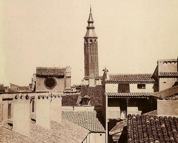 La Torre Nueva de Zaragoza, imagen tomada por J. Laurent en 1886