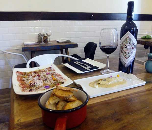 carpaccio de presa ibérica con salsa teriyaki y parmesano y un canelón de ternera y ave con salsa de foie