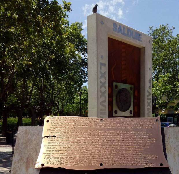 El hito que recuerda el enfrentamiento que Zaragoza y Alagón mantuvieron hace 21 siglos por el agua del Jalón