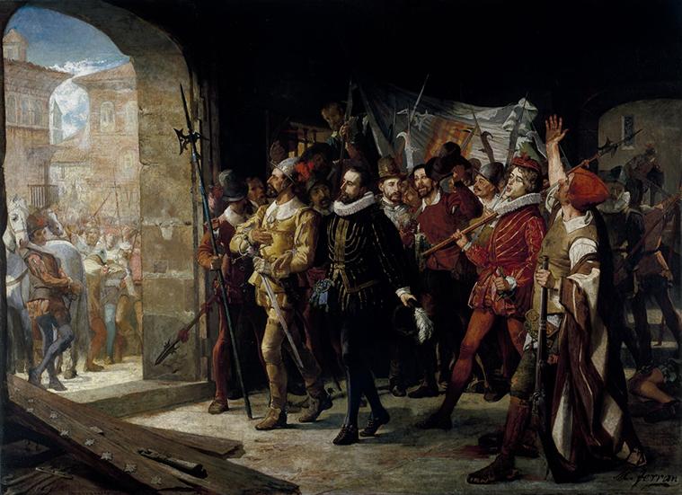 Juan de Lanuza, sale de Zaragoza, con dos mil hombres, para frenar a las tropas de Felipe II, que habían cruzado la frontera del Reino de Aragón, con el objeto de combatir la revuelta nobiliaria foral a raíz del encarcelamiento en la prisión real de Antonio Pérez, huido a Aragón al ser acusado del asesinato del secretario real Escobedo.