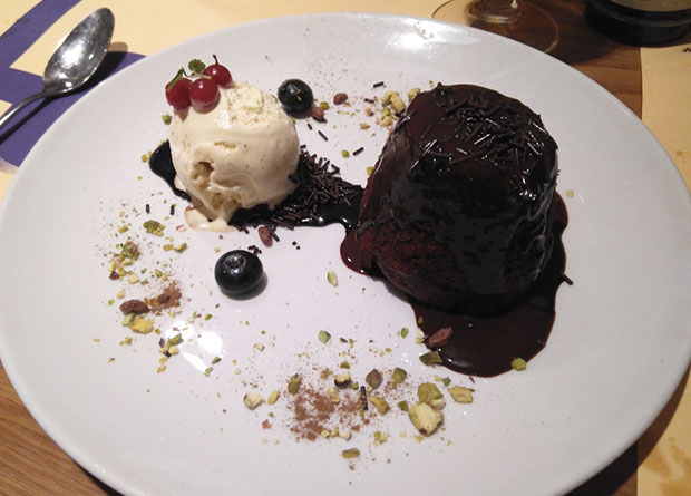 Coulant de chocolate en el Restaurante Boabab