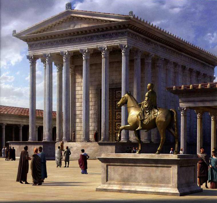 Recreación del foro romano de Caesar Augusta