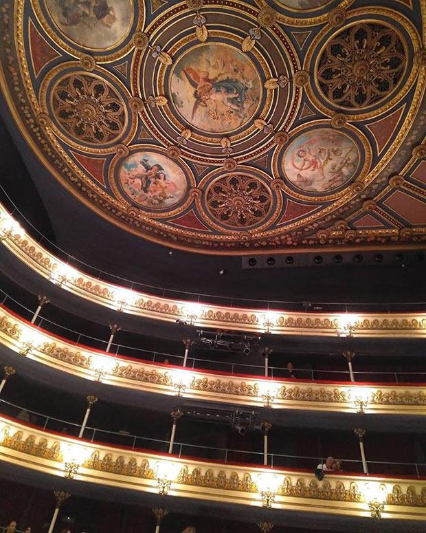Vista del Palco 13, en el que se sentaban José Martí y Fermín Valdés cuando acudían al Teatro Principal de Zaragoza,