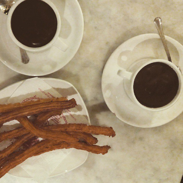 Chocolate con churros en el Café Levante