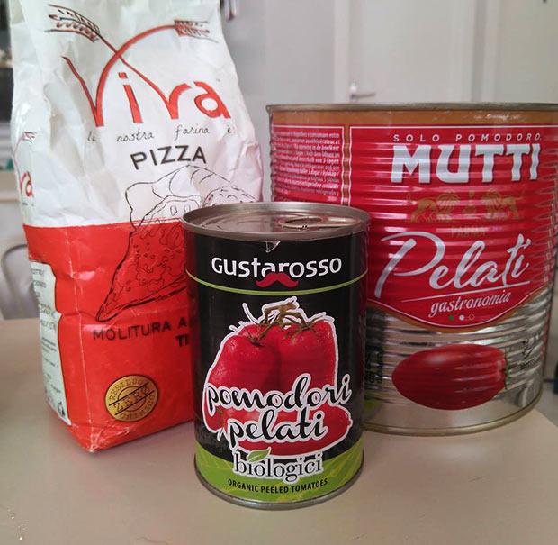 Ingredientes utilizados en la elaboración de las pizzas