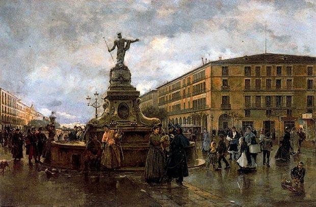 Joaquín Pallarés: El dios de las aguas en Zaragoza, óleo/lienzo, 1890
