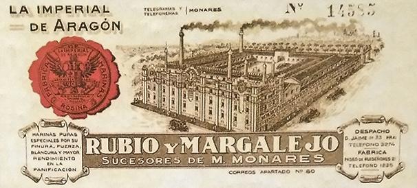 """Membrete comercial de """"La Imperial de Aragón"""", en 1935"""