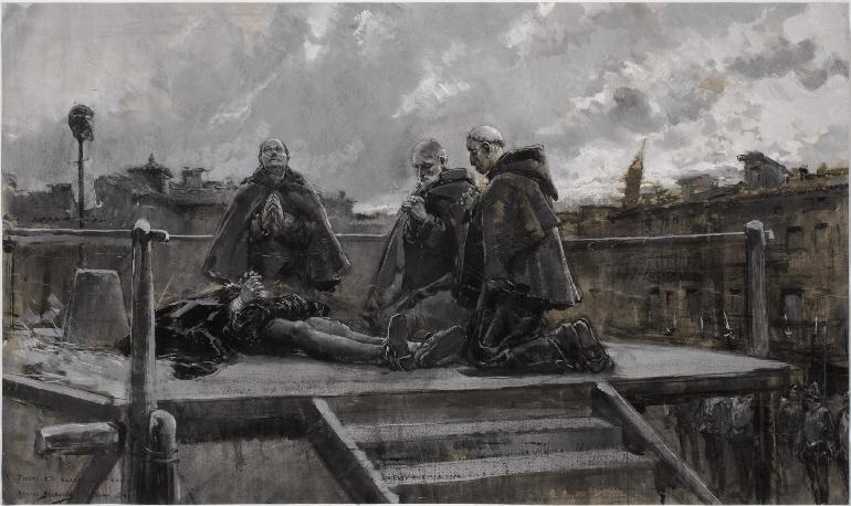 La ejecución de Juan de Lanuza, Mariano Barbasán, 1861