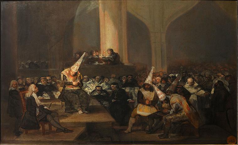 """Escena de la Inquisición (1814-1816). """"Goya presenta la escena de un autillo. Los condenados a muerte, así identificados por la corona con llamas hacia arriba que portan, escuchan la sentencia, leída por un fraile desde una tribuna o púlpito. La arquitectura de la sala evoca un edificio de siglos anteriores, tal vez la sede de un tribunal inquisitorial."""