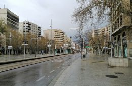 Plaza de Aragon en Zaragoza con el Paseo Independencia al fondo