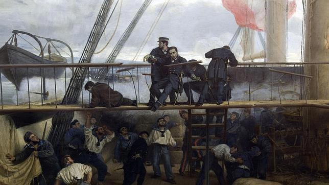 Lienzo de Antonio Muñoz Degrain del museo naval que representa el momento en que cayó herido el marino Méndez Núñez en el puente de la fragata Numancia durante el bombardeo a los fuertes de El Callao, el 2 de mayo de 1866