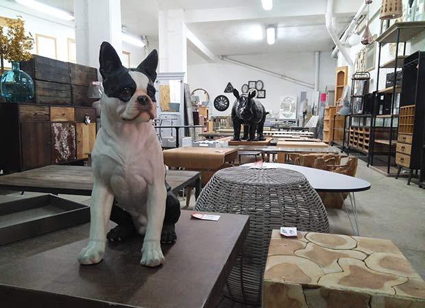 Objetos de decoración en la tienda de muebles de madera Kimber