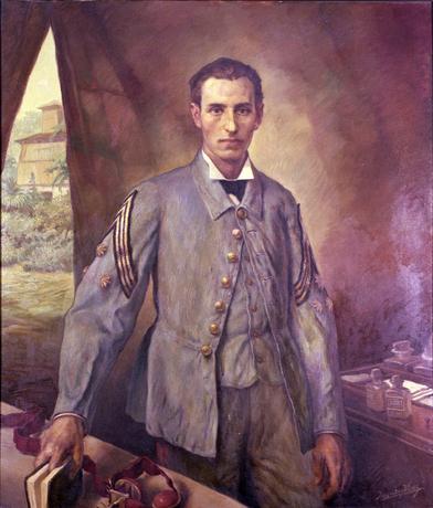 Santiago Ramón y Cajal de uniforme de paño de capitán de Sanidad Militar (1874)