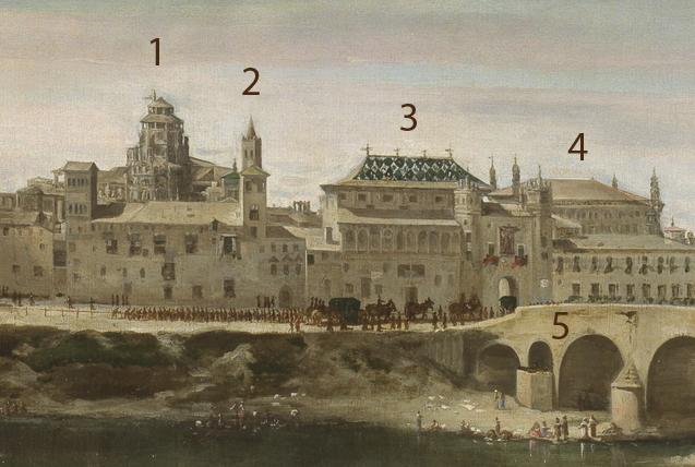 Detalle del cuadro Vista de Zaragoza en 1647, por J.B. Martínez del Mazo, a veces atribuido a su maestro, Velázquez. Los hitos representados corresponden a: 1 — Cimborrio de la Seo 2 — Torre mudéjar de la Seo 3 — Palacio de la Diputación del General del Reino de Aragón. 4 — Lonja 5 — Puente de piedra