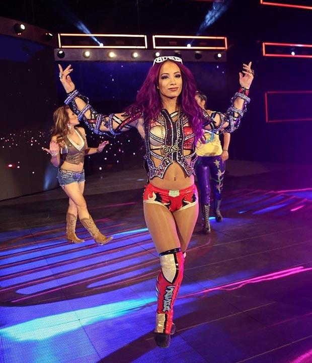 Sasha Banks en la WWE live en Zaragoza