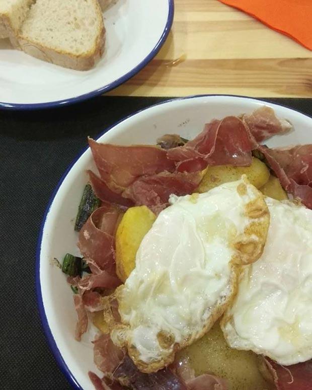 Huevos Rotos en el Restaurante Crac de Zaragoza