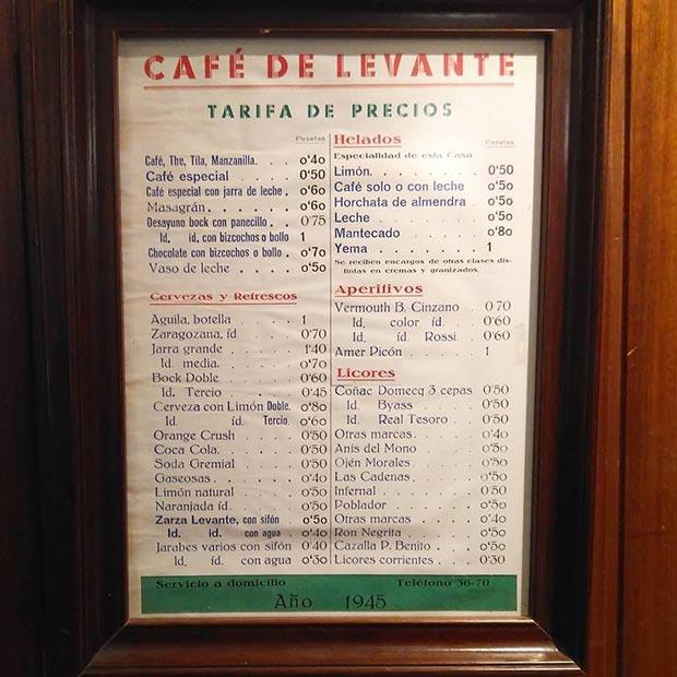 Tarifa de Precios del Café Levante en 1945