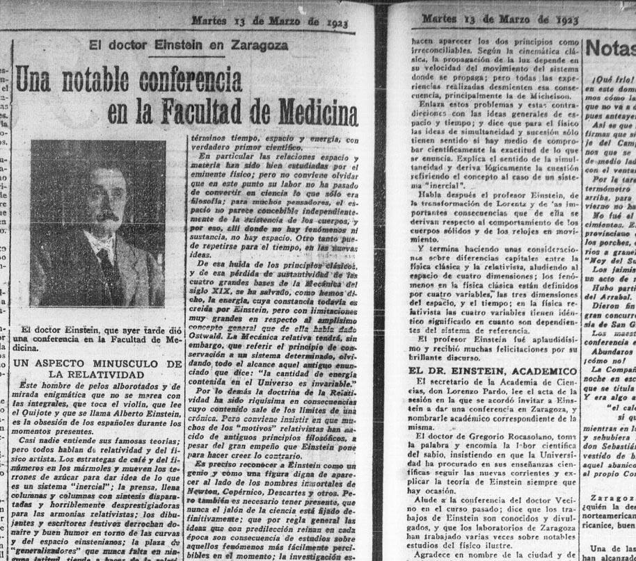 """Reseña de la visita de Einstein a Zaragoza publicada en el diario zaragozano """"El Noticiero"""" el martes 13 de marzo de 1923 (Imagen del Ayuntamiento de Zaragoza /zaragoza.es)"""