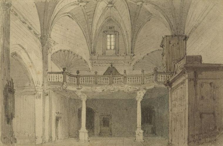 Interior de la iglesia de Santiago de Zaragoza, dibujo a tinta y aguada anónimo, 1874