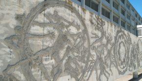 Murales la línea vital y Despertar de la naturaleza de Ángel Orensanz en el campus universitario Río Ebro