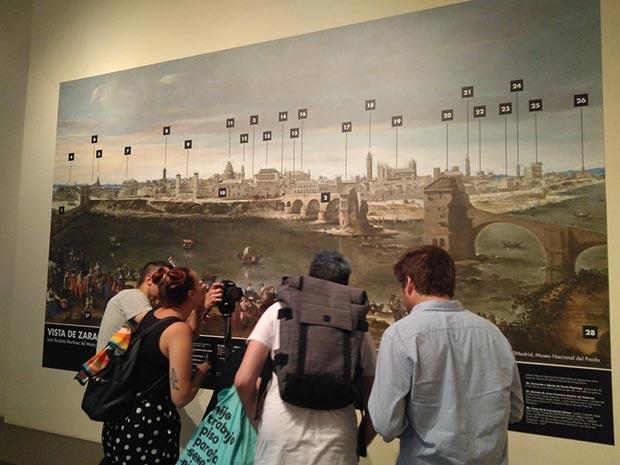 """La primera pista para encontrar la carta de la condesa a Goya tenía que ver con las casa del puente que Juan Bautista Martínez del Mazo pintó en su obra """"La Vista de Zaragoza en 1647""""."""