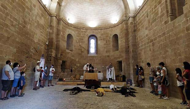 Recreación de escenas de la vida templaria en las dependencias del Castillo de Monzón