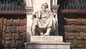 Escultura de Miguel Servet en el Paraninfo