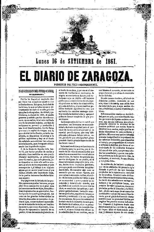 diario zaragoza llegada del ferrocarril a zaragoza