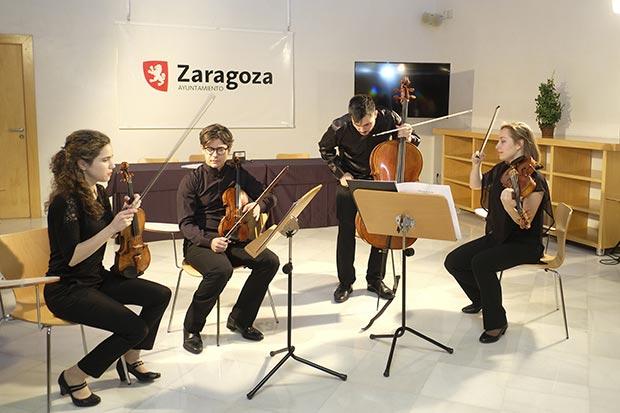 """El grupo residente Ensemble Bayona, tras su concierto """"Cuartetos al margen"""""""