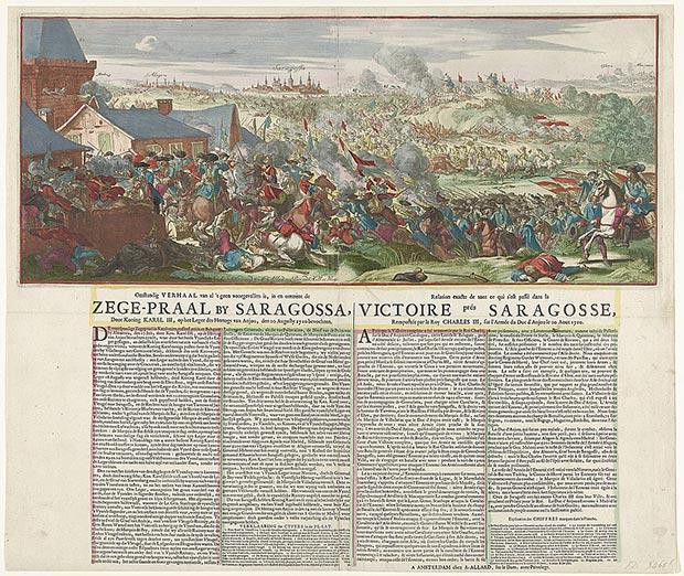 Victoria de las tropas aliadas del archiduque Carlos sobre los franceses cerca de Zaragoza. Aguafuerte coloreado impreso en Ámsterdam por Abraham Allard.