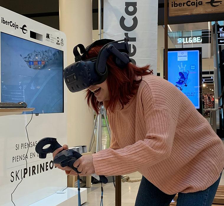 experiencia de nieve en realidad virtual de espacio Xplora