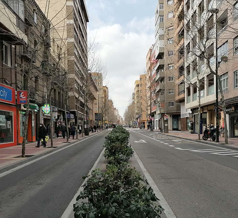 Avenida de Madrid en la ciudad de Zaragoza