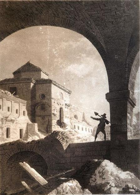 Vista de la iglesia del Convento de San José después de los asedios franceses en Zaragoza, 1813. Fernando Bambrila y Juan Gálvez