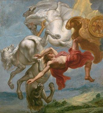 La caída de Faetón, Jan Carel van Eyck. Óleo sobre lienzo 1636-38