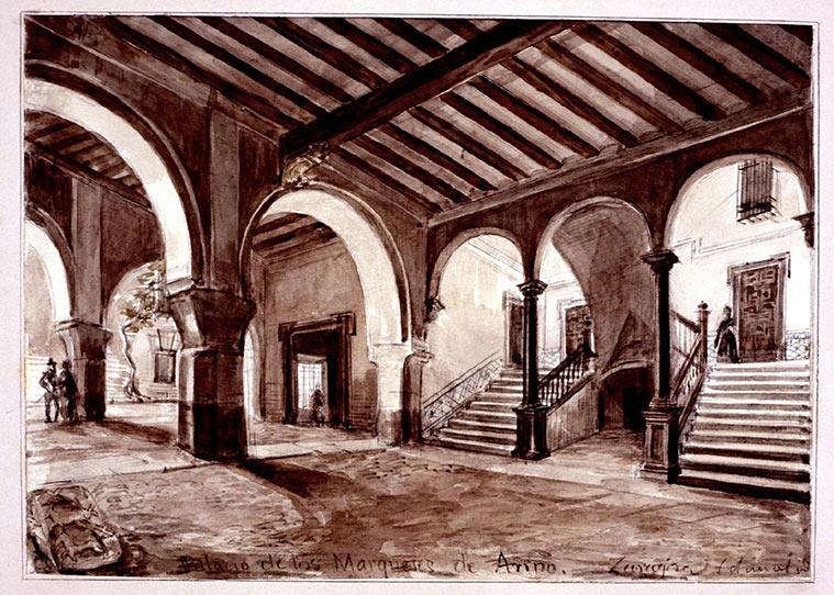 Interior del Palacio de los Condes de Ariño. Dibujo de Valentín Carderera y Solano (1880) conservado en el Museo Lázaro Galdiano