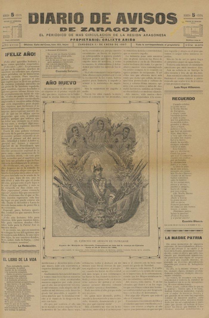portada del diario de avisos de zaragoza