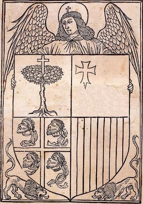 Primer testimonio del escudo de Aragón. Fabricio Vagad, Crónica de Aragón. Incunable impreso en Zaragoza en 1499 por Pablo Hurus.