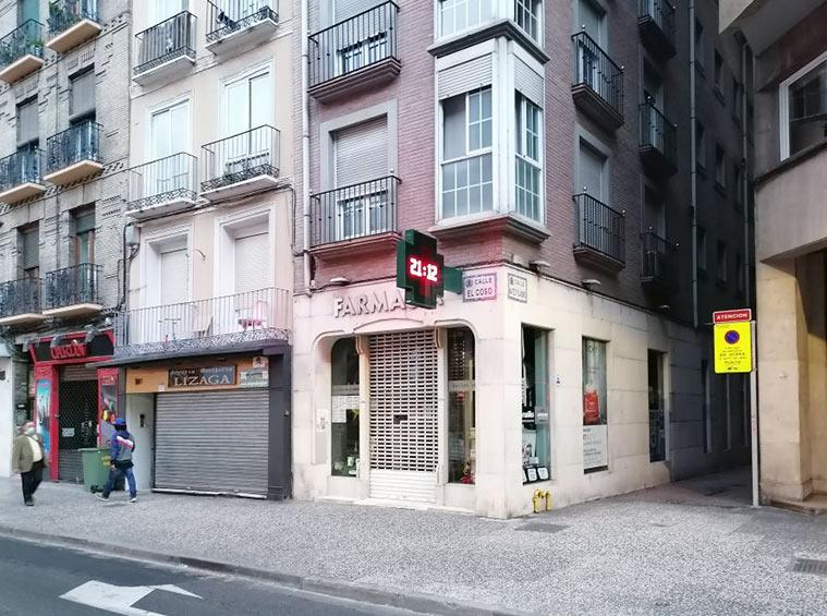 En este solar (Coso 100) se encontraban la redacción y talleres del Diario de Avisos de Zaragoza