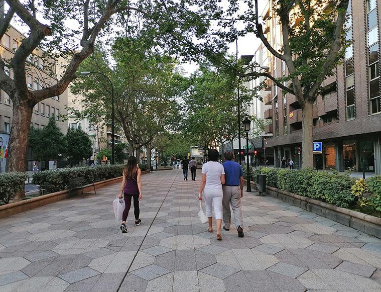Personas caminando por el bulevar central del Paseo Sagasta