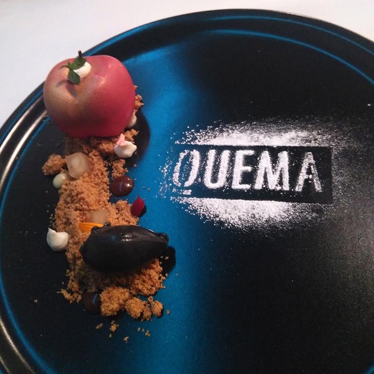 Postre Manzana en el Restaurante Quema
