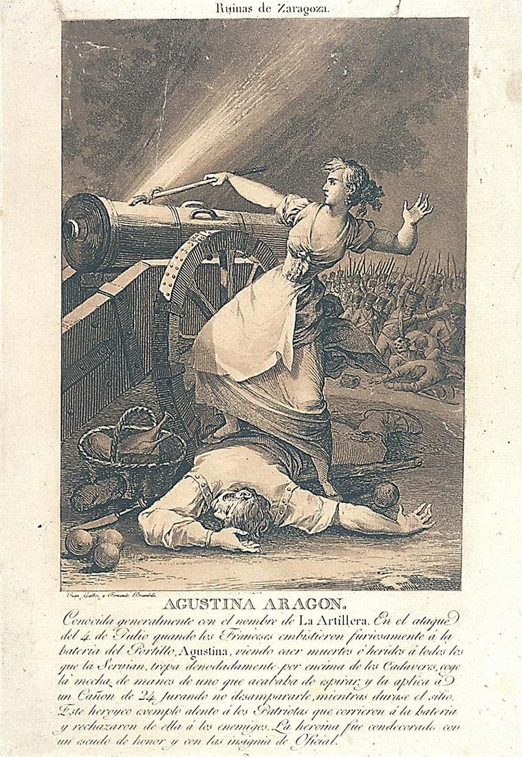 Agustina Aragón. Estampa de Juan Gálvez y Fernando Brambilla, publicada en Cádiz por la Real Academia de Bellas Artes en 1812–1813.