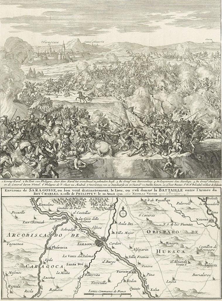Batalla de Zaragoza o del monte de Torrero (1710). Vista de la Batalla. Rijksmuseum de Amsterdam (Holanda)