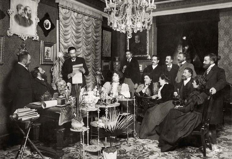 Benito Pérez Galdós leyendo galeradas de su discurso de ingreso en la Academia Española. 6 de febrero de 1897.