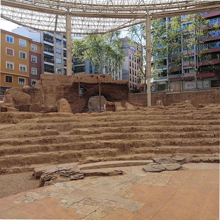 Detalle del graderío del antiguo Teatro de Caesaraugusta