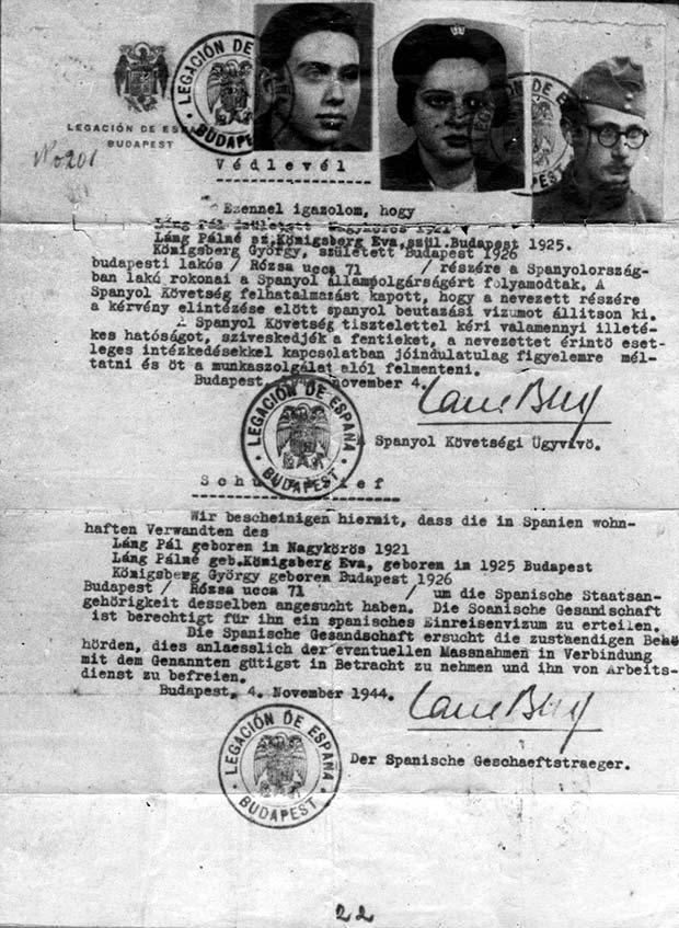 Documento de protección emitido en Budapest por Ángel Sanz-Briz