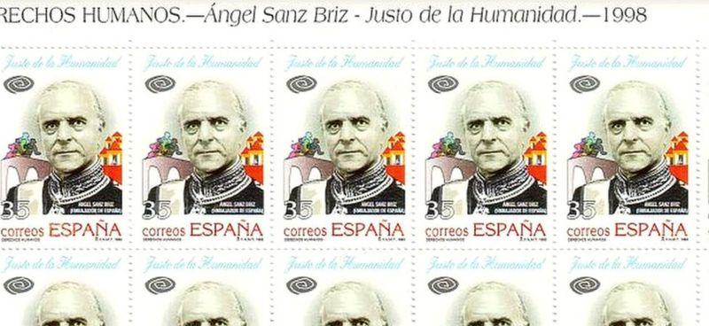 En 1998 España celebró tardíamente a Sanz Briz, con estos sellos de 35 pesetas