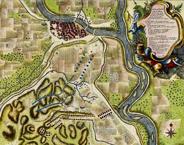 """Mapa de la Batalla de Zaragoza de 1710, según un grabado de Nicolas Tindal incluido en el libro """"The Continuation of Mr. Rapin's History of England"""", publicado en Londres en 1740"""
