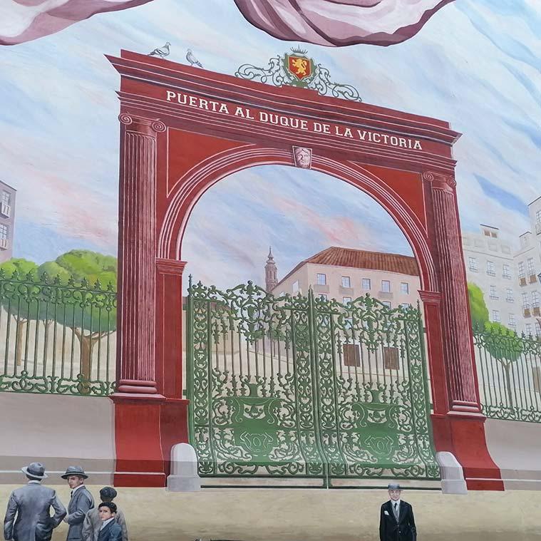 Trampantojo de la Puerta del Duque de la Victoria en la Plaza de San Miguel